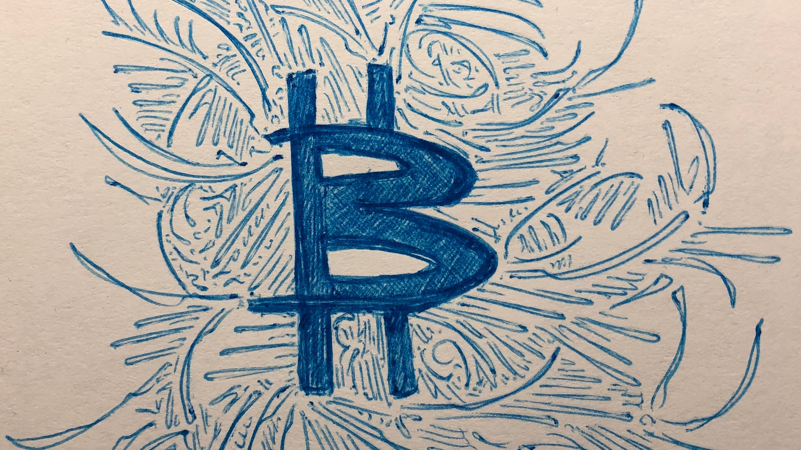 This is my personal interpretation of the Bitcoin symbol, expressed through my favorite medium: ballpoint pen on paper.