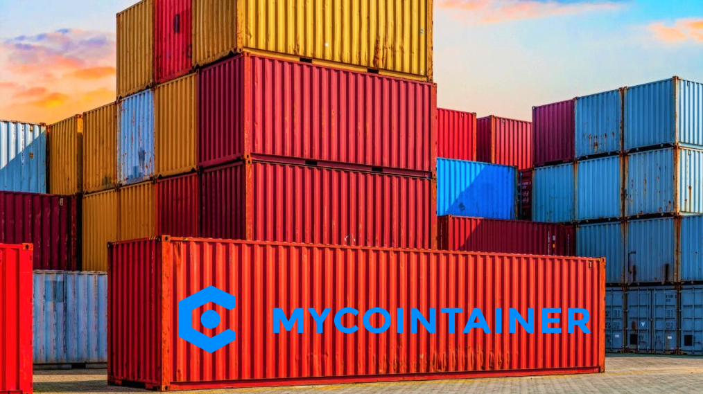 Cargo Container with MyCointainer company cryptocurrency staking and masternode platform logo