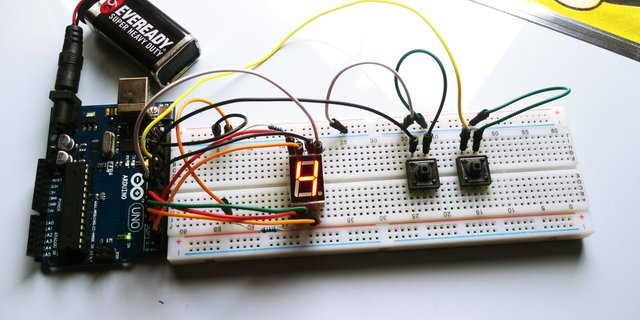 ARDUINO 7-segment and push buttons counter(tutorial)