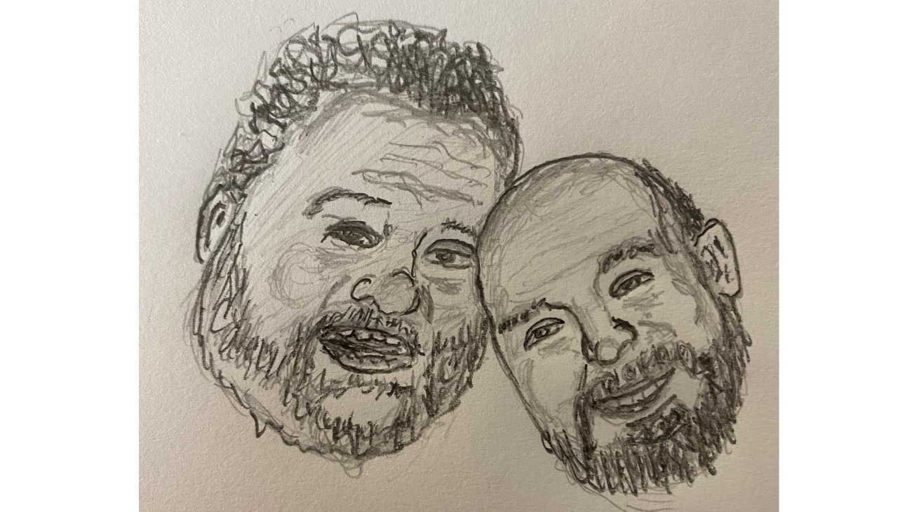 Ian and Josh leaning together - Pencil