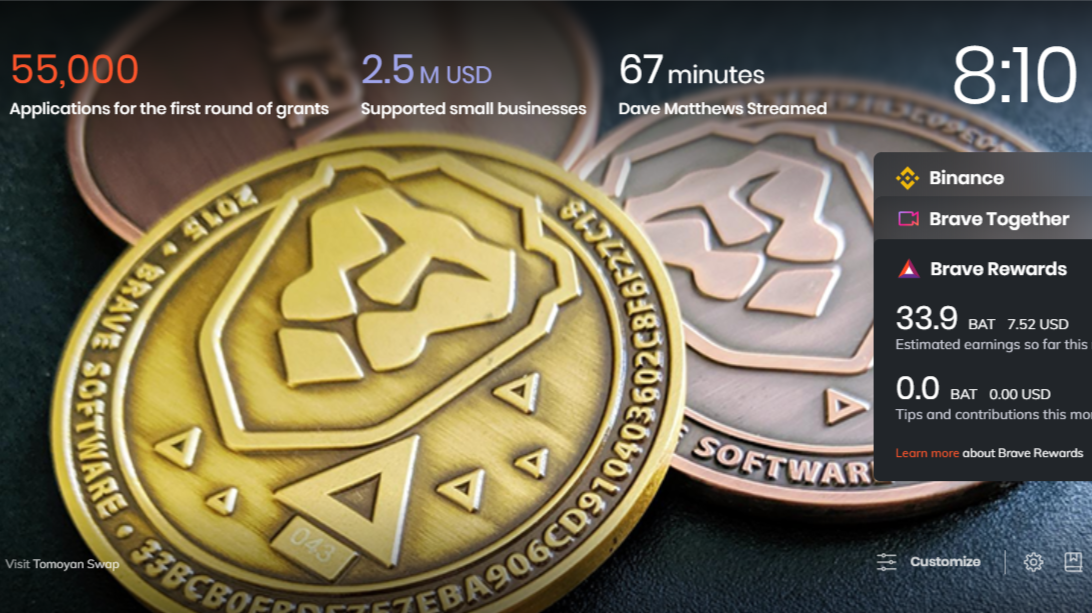 brave coin new tab