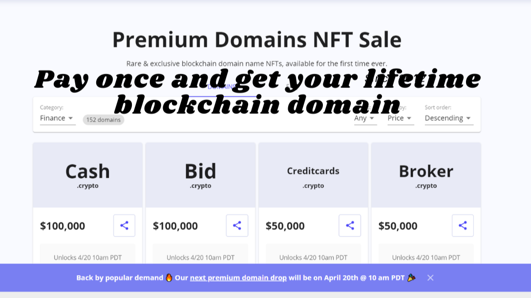 Premium Domains NFT sale from Unstoppable Domains