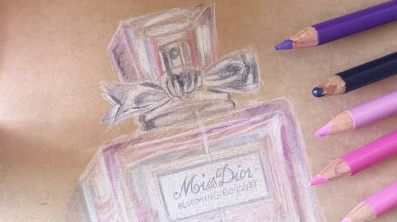 Drawing a Perfume Bottle with colored pencils (Miss Dior Blooming Bouquet)