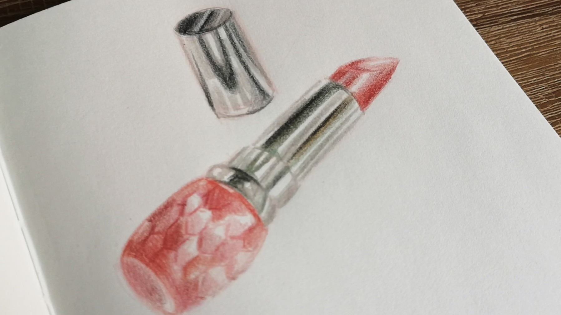 Drawing a Lipstick with Faber Castell Polychromos on Sketchbook paper, Shiseido Prior