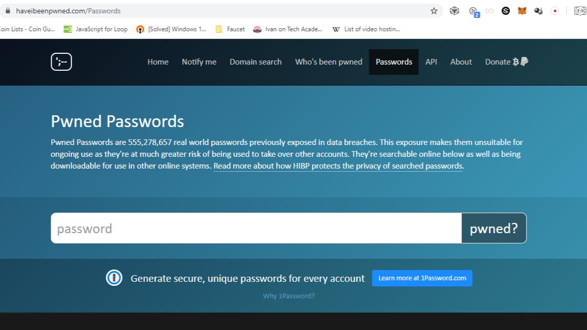 https://haveibeenpwned.com/Passwords