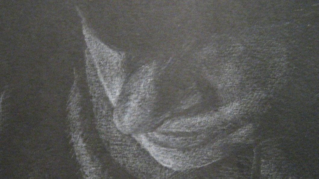 an old white-on black drawing about my face looking down
