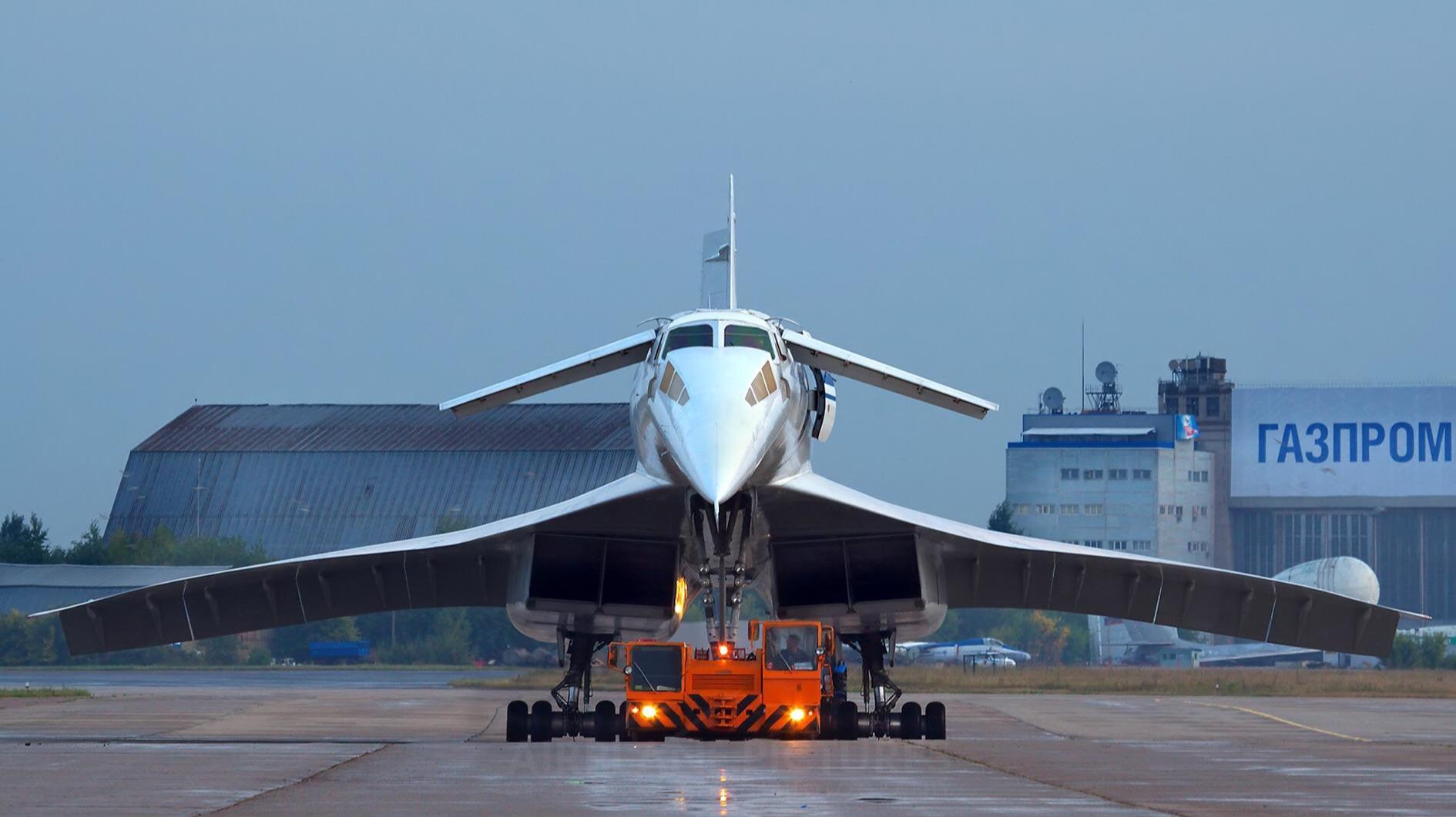 Soviet Communist Tupolev Tu-144 supersonic passenger aircraft and airliner.