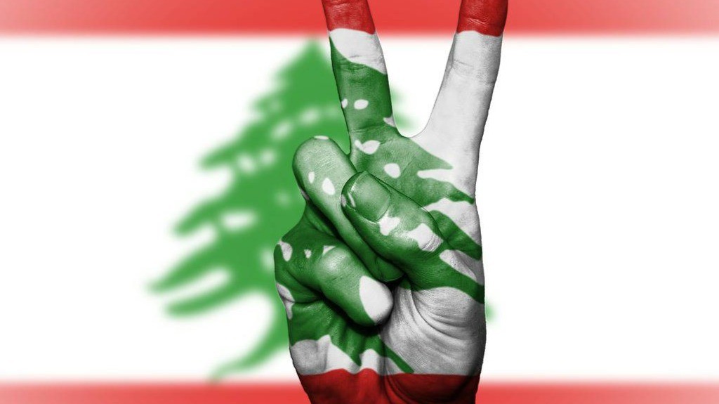 The Lebanese Flag and a victory signal