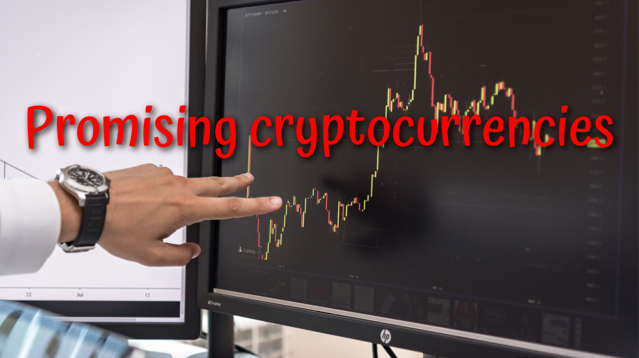 """Image of a hand pointing to a graph and with a superscript text saying """"promising cryptocurrencies""""."""