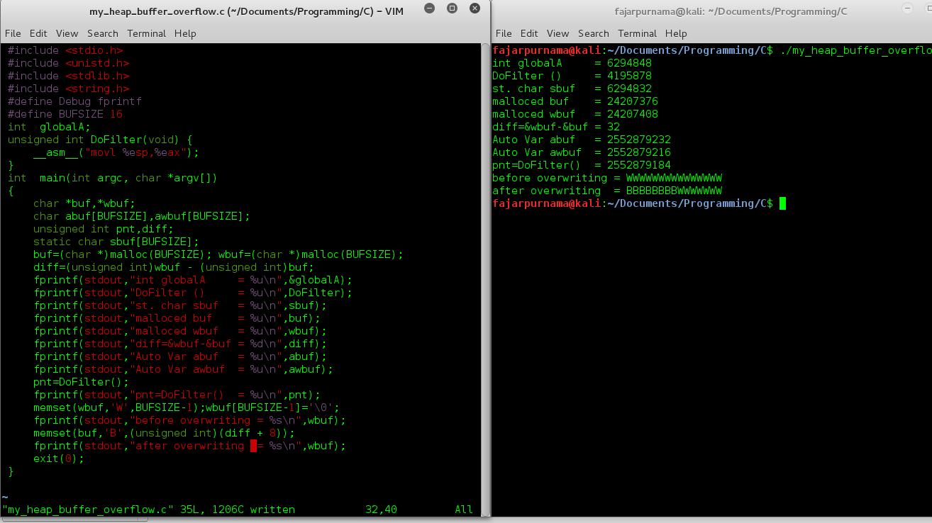 Heap Buffer Overflow C Program Demonstration