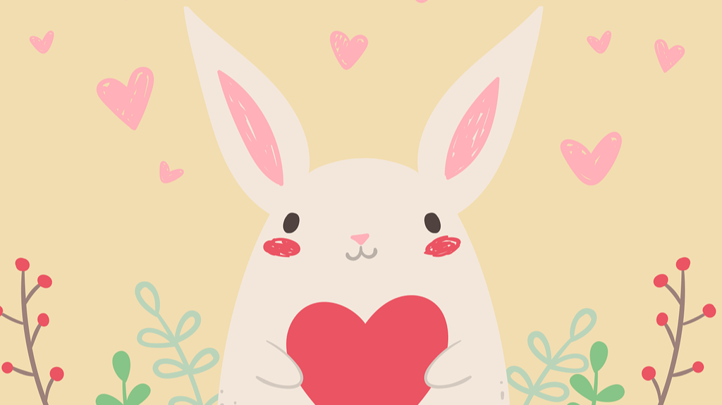 Free use image of a rabbit holding a valentine heart from Pixabay