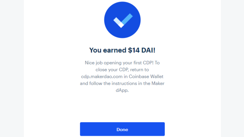 Earned $14 Dai from Coinbase Earn