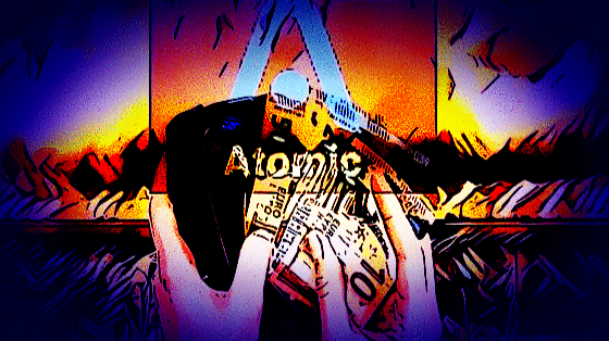 Two light skinned hands holding filipino pesos against the backdrop of a mushroom cloud, overlaid with the Atomic symbol.