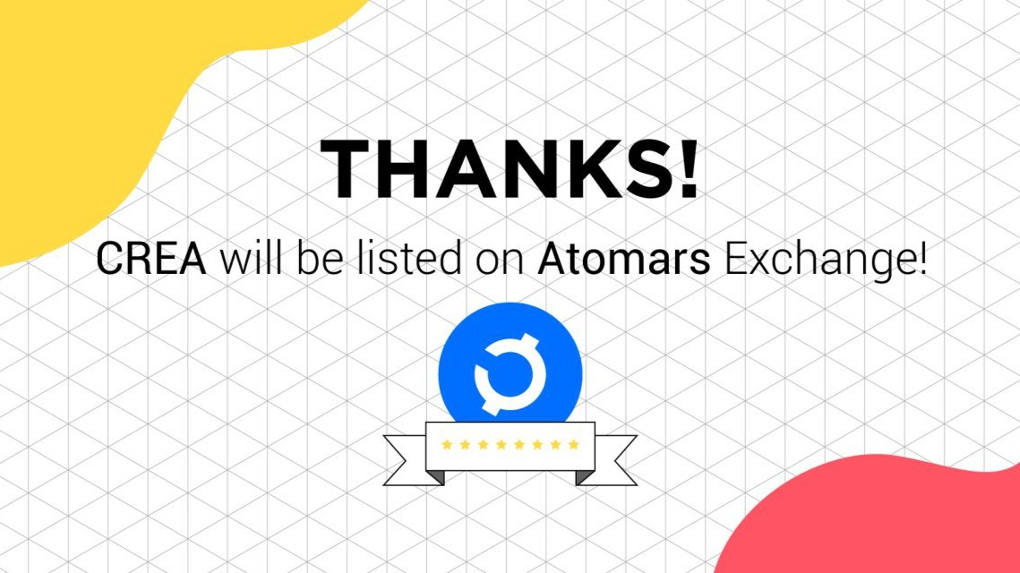 CREA will be listed on the Atomars Exchange