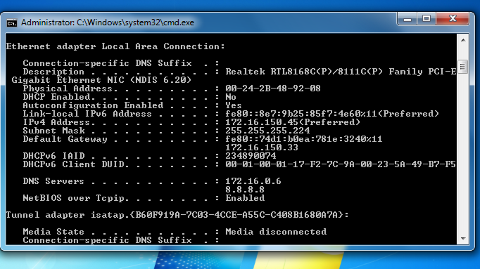 ip config /all