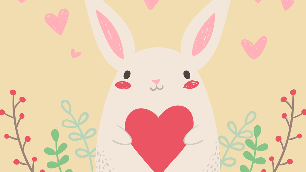 rabbit with valentine heart free use image from Pixabay