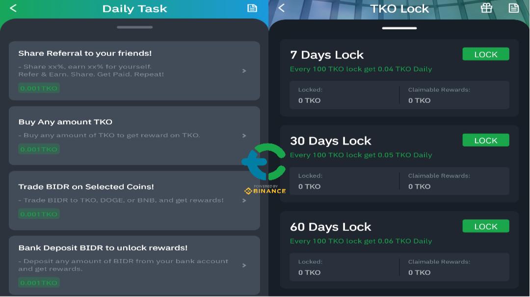 Tokocrypto Daily Task and Lock