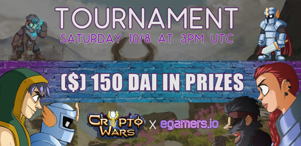 Register Now For The Cryptowars x egamers Tournament With 150$ Prizes in DAI
