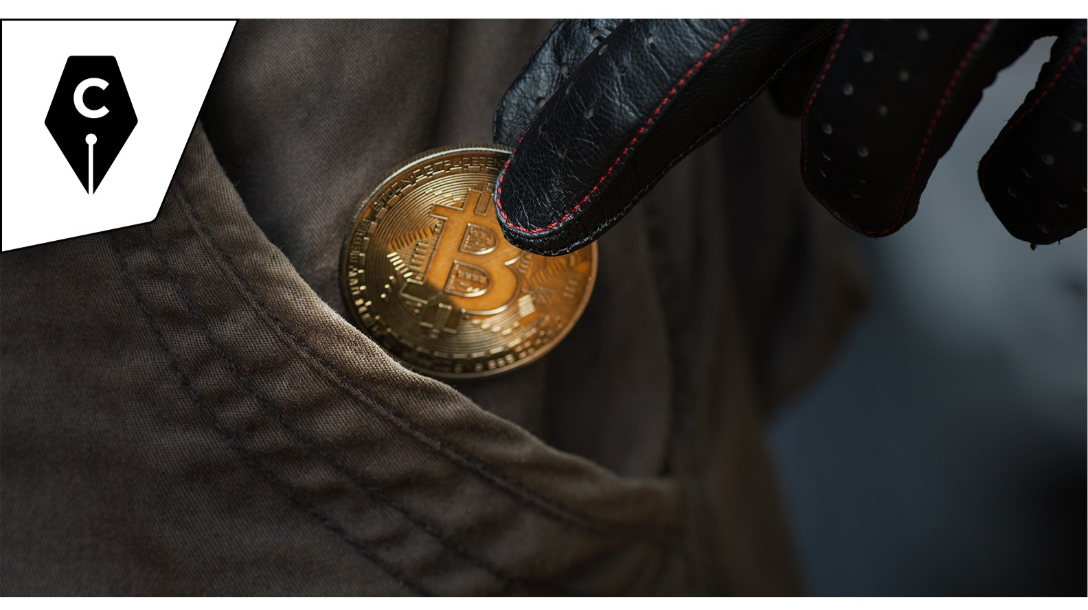 Cryptowriter Branded Adobe Stock Image of a Bitcoin Thief.  All images in this article are licensed via Adobe Stock.
