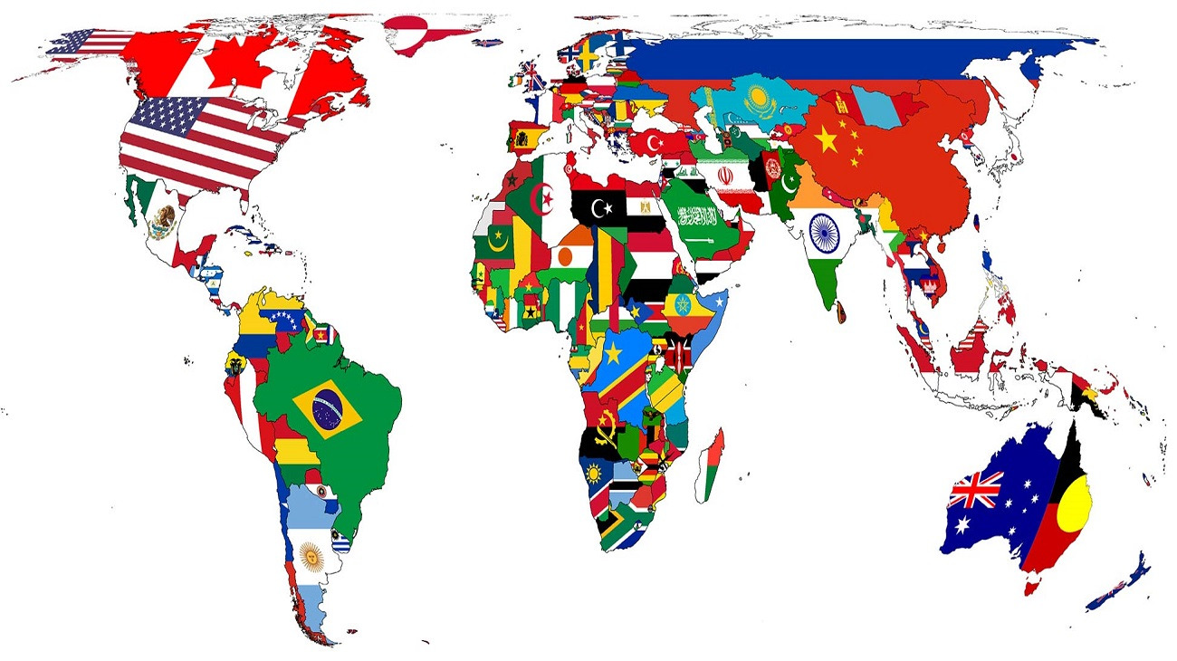 World map of countries around the world, shown with their national flags and symbols.