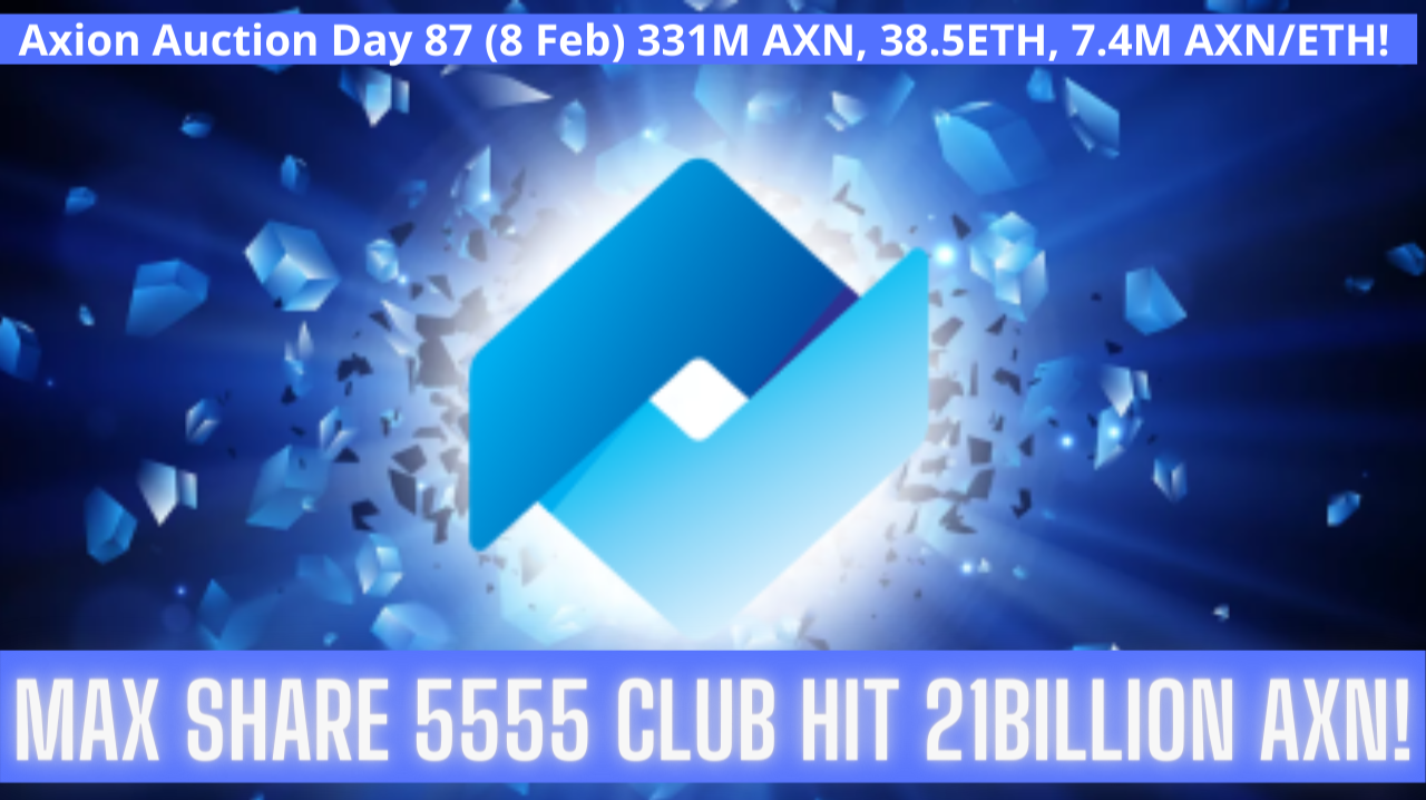 Axion Auction Day 87 (8 Feb) 331M AXN, 38.5ETH, 7.4M AXN/ETH! Max Share 5555 Club Hit 21Billion AXN!