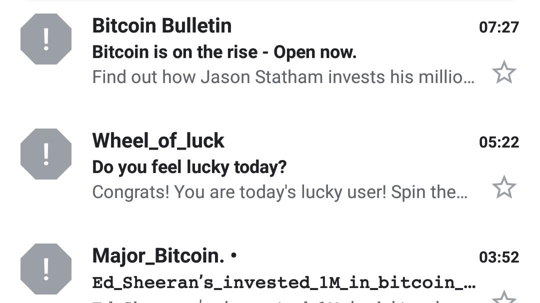 bitcoin spam geriausias bitcoin klientas
