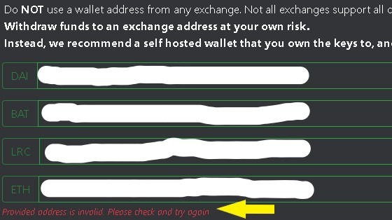 Withdrawal to BlockFi not accepted