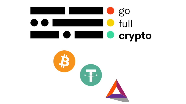 Go Full Crypto with Bitcoin Tether and BAT Logo