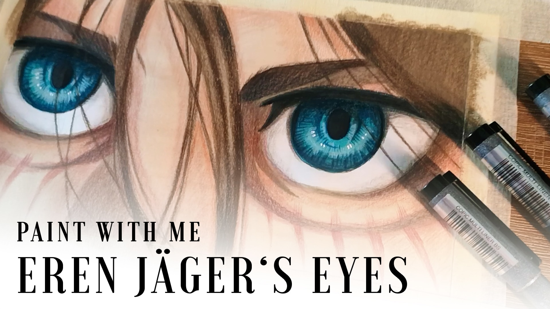 Painting Eren Yaeger Eyes from Attack on Titan Season 4 with Gouache, colored pencils and Copic Fineliners