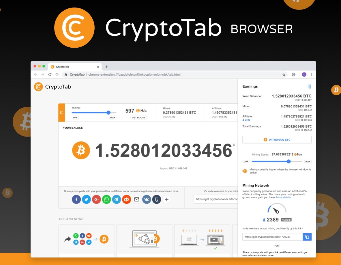 CryptoTab: Mining Bitcoin Free While Browsing