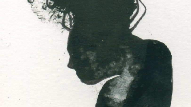 Shadow picture of a woman underwater.