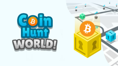Coin hunt world logo with a yellow vault to its right. There is a bitcoin logo on top of the yellow  vault.
