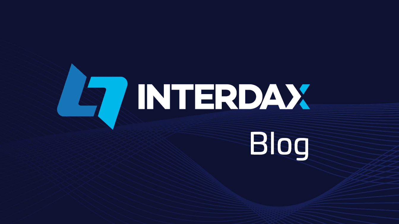Interdax logo with dark blue background