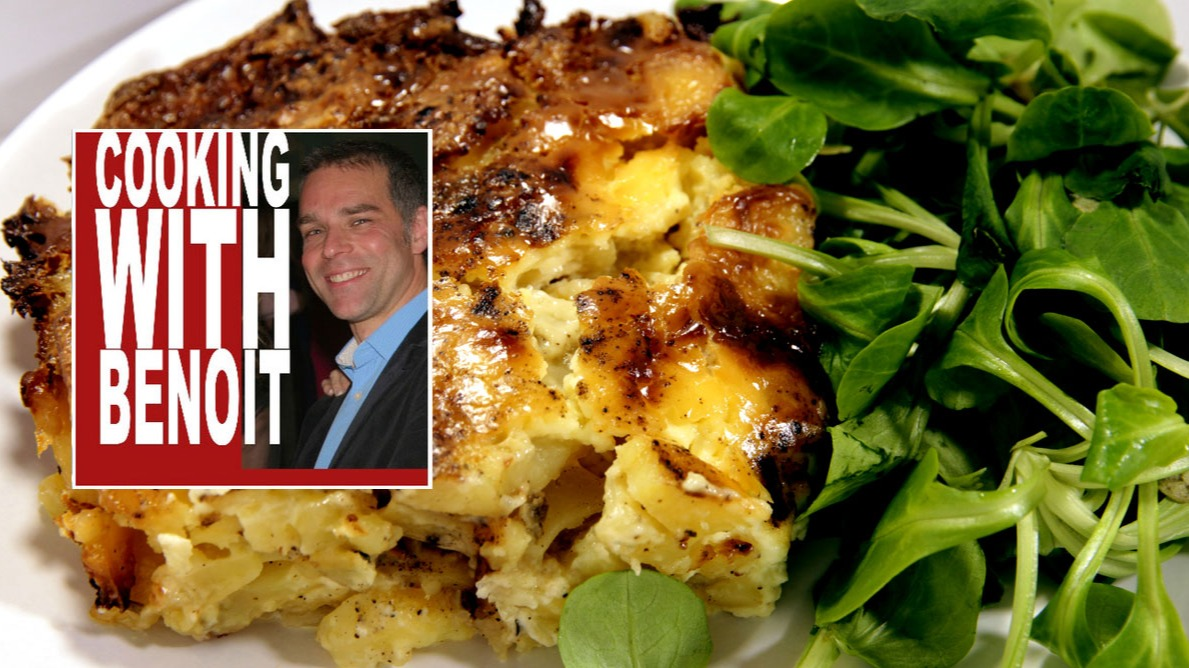 A gratin dauphinois and its side salad.