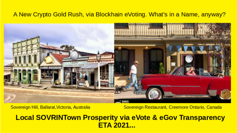 SOVRINTown New Crypto gold Rush via eVote on eGov on the Blockchain