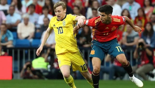 Spain vs Sweden draw 1-1.