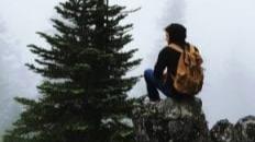 individual on mountain top