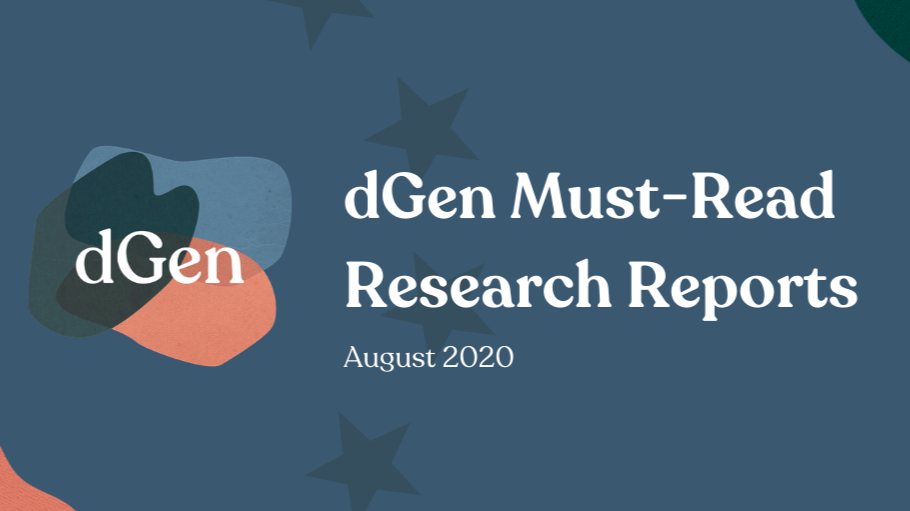 dGen Must-Read Research Reports August 2020 over a blue background with EU stars and the dGen logo