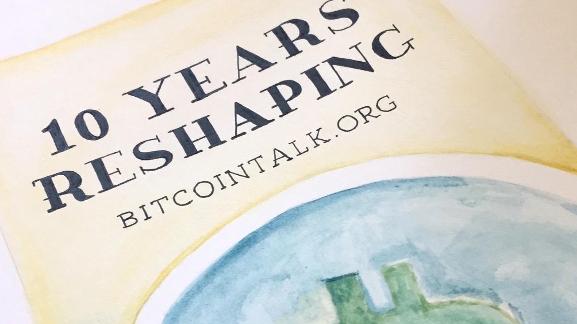 Celebrating Bitcointalk.org 10 Year Anniversary - Watercolor Bitcoin Art