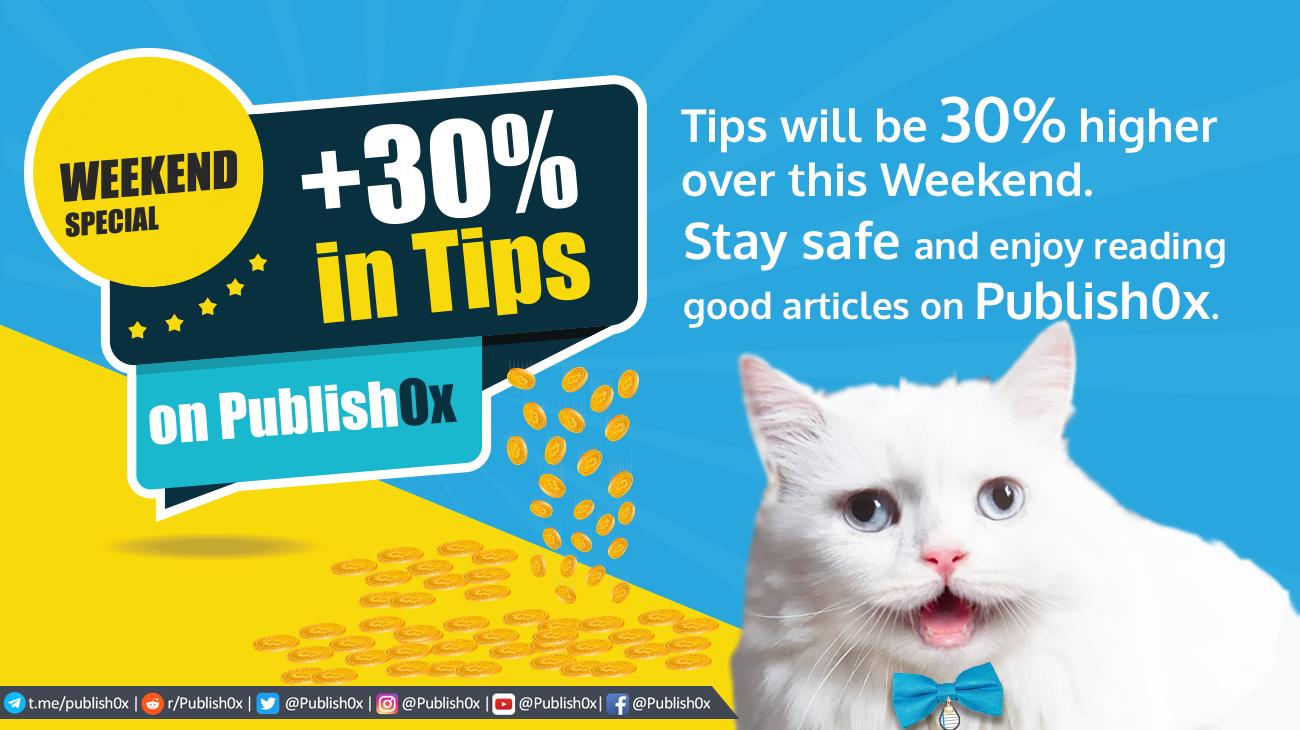 cat announcing 30% bigger tips weekend
