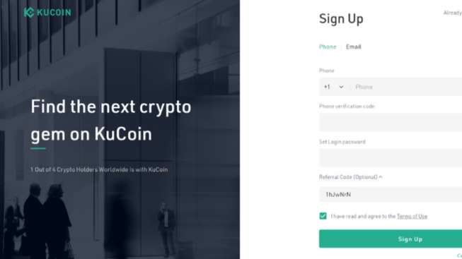 Snapshot of Kucoin sign-up page