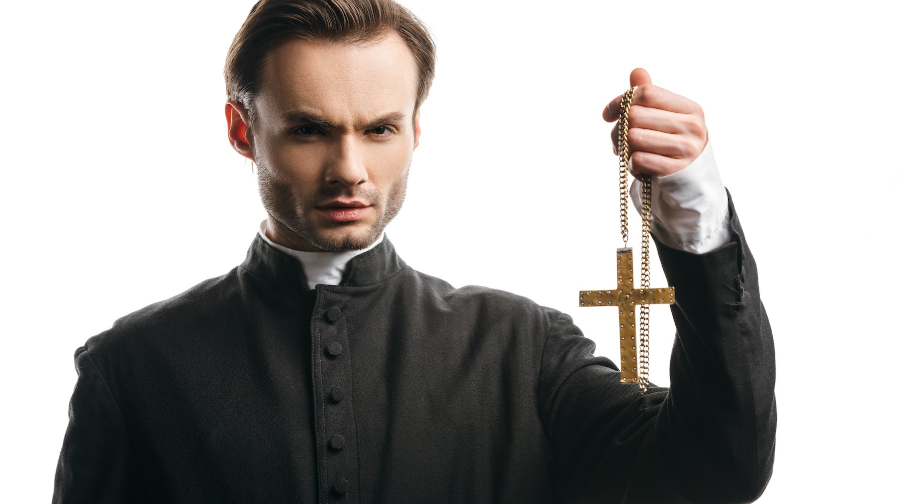 priest with golden cross