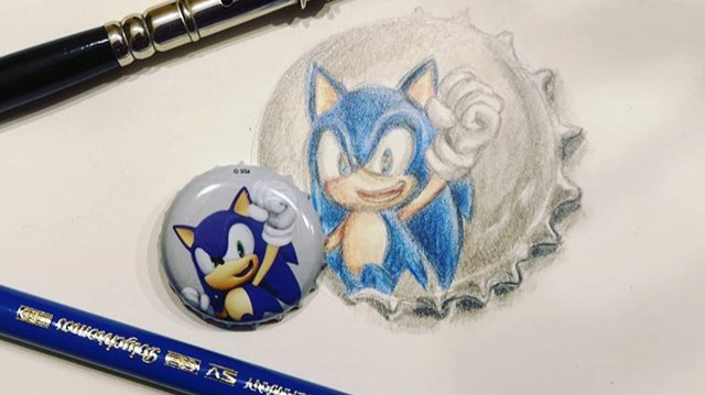 How to draw Sonic the Headehog with Faber Castell Polychromos from Sonic the Movie 2020