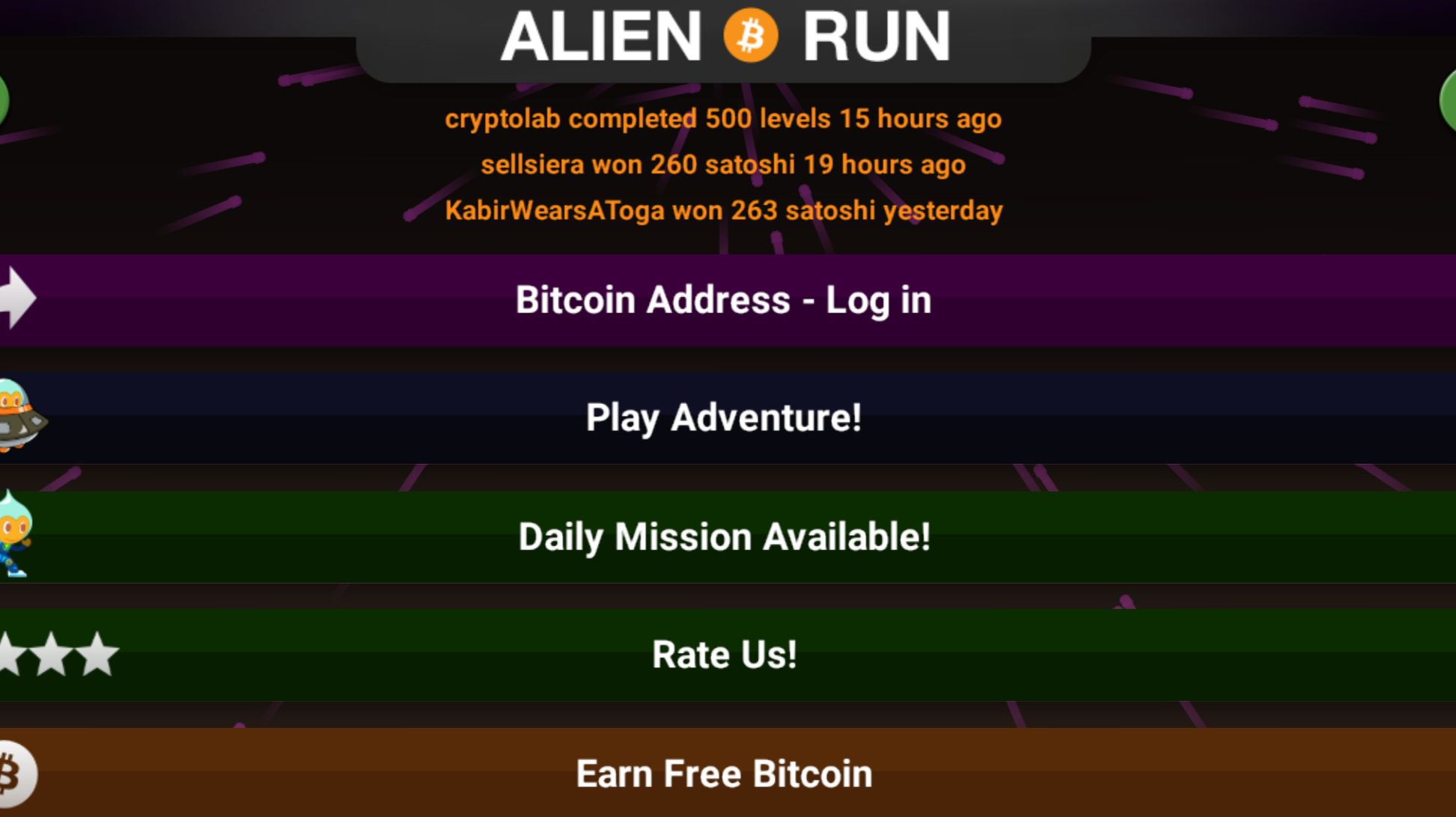 Alien Run TItle Screen