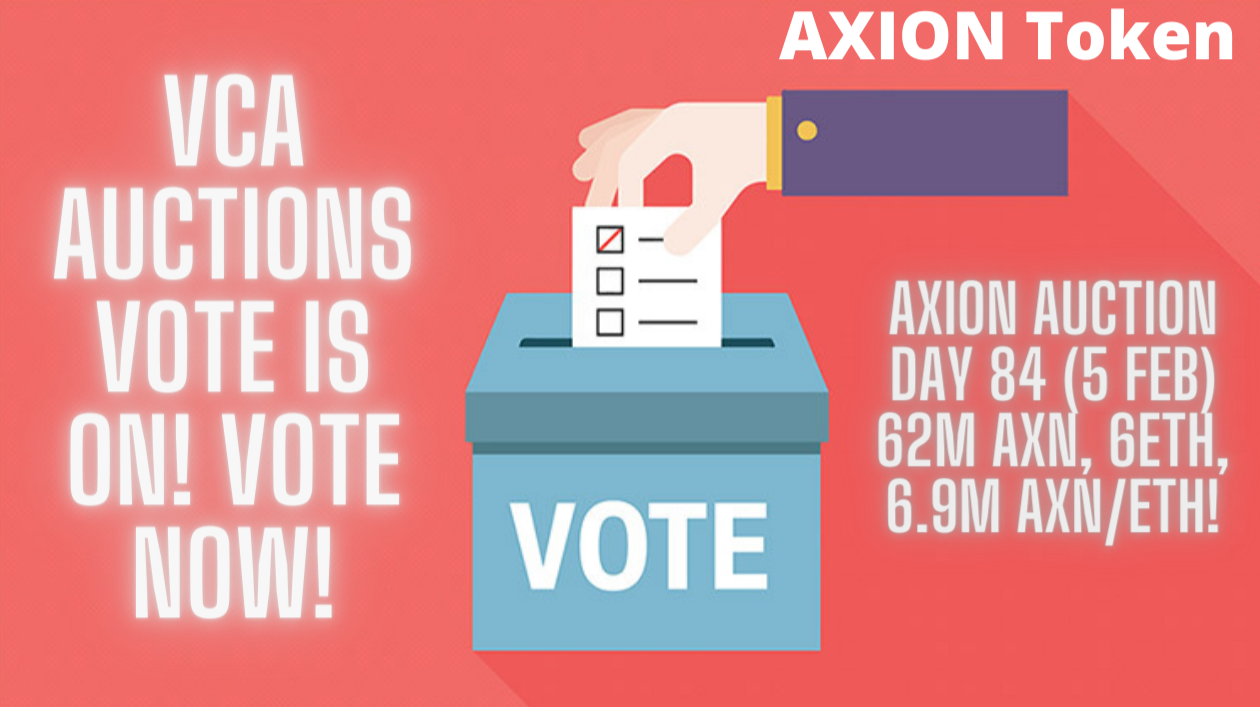 Axion Auction Day 84 (5 Feb) 62M AXN, 6ETH, 6.9M AXN/ETH! VCA Auctions VOTE is ON! Vote NOW!