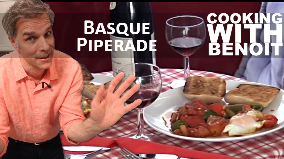 Basque piperade served with red wine.